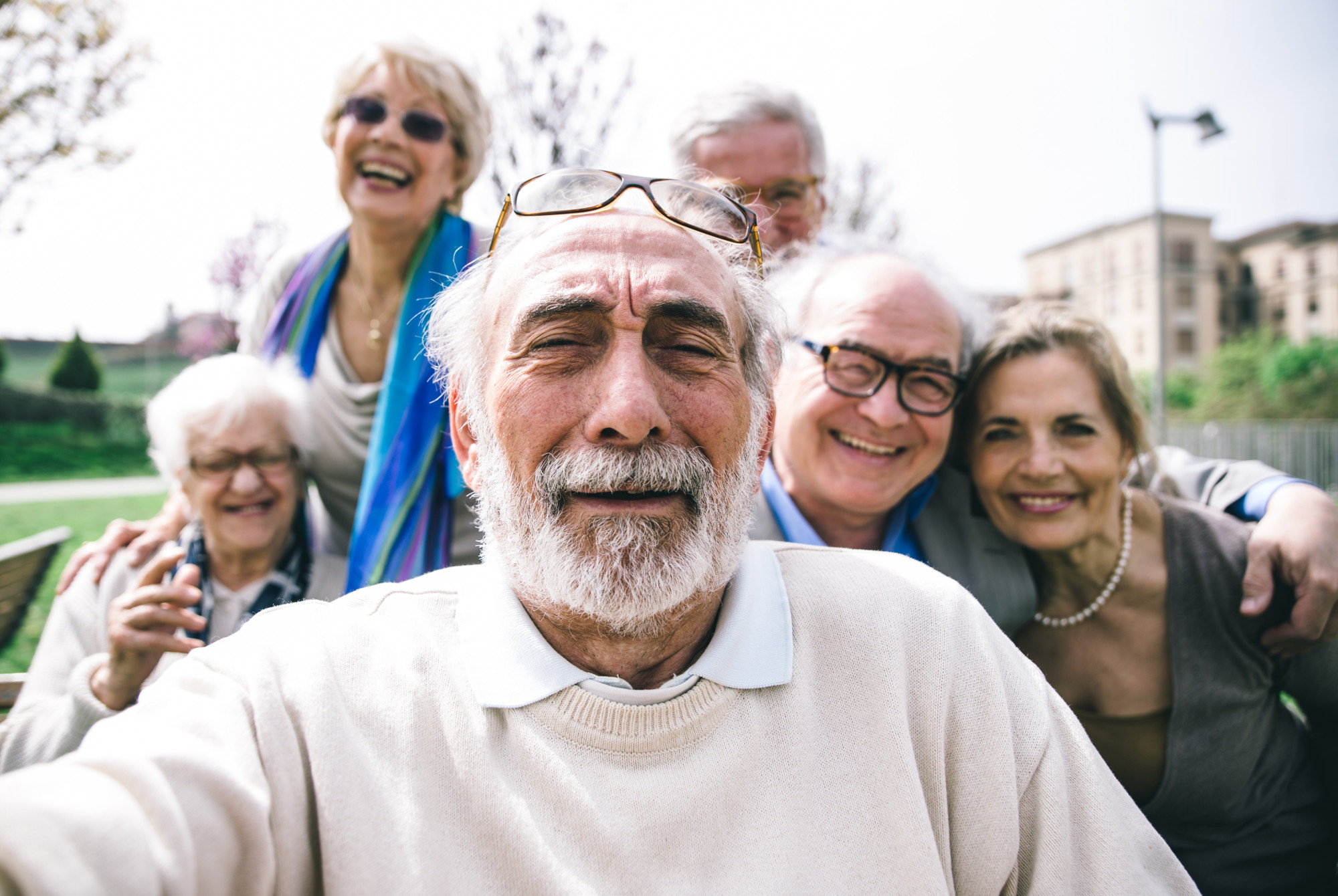 Trent Dementia image: Life with Dementia project - photo of group of men and women taking a selfie